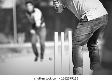 .people playing cricket on the street