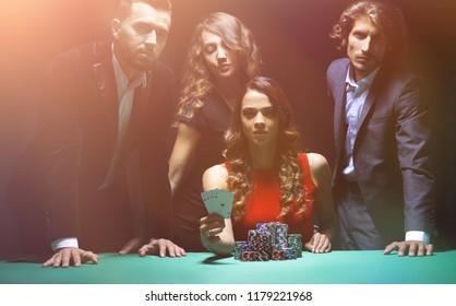 People playing poker in the casino, gambling