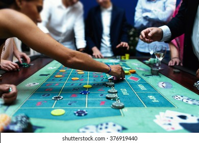 People playing poker in the casino, roulette, gambling