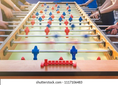 People playing table football outdoor