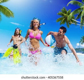 People Playing at a Tropical Beach Enjoyment Concept