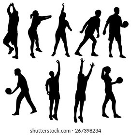 people playing volleyball silhouette