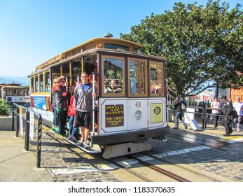 People in the pleasure tram in San Francisco, California, USA. Spring 2015