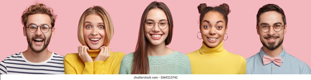 People and positive emotions concept. Mixed race diverse people being in good mood after having party together, have broad smiles on faces, isolated over pink background. Set of best friends