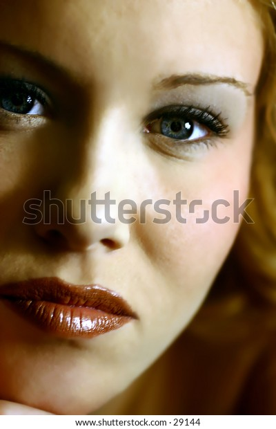 People - Pretty Young Woman - Head and Face - Serious Stare