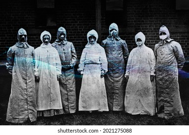 People in protective suits from the Spanish flu epidemic coronavirus contaminated background