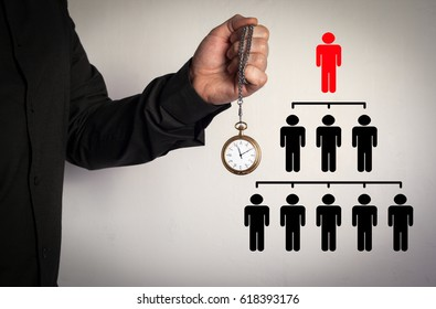 People pyramid with one leader at the top and silhouettes at all levels, business concept. Man holding chain clock on white background