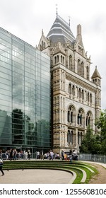 People queuing at the side entrance of the Natural History Museum in London, UK in August 2017