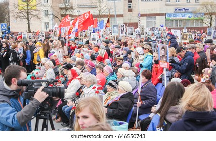 People at a rally on Victory Day. Kirishi, Russia - 9 May, 2017. Holding a festive rally dedicated to the Victory Day.