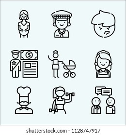 People related set of 9 icons such as mother, conversation, woman, customs, chef, pregnant, taxi driver, maid