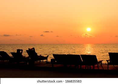 People relax when sunset at the beach at koh chang, Thailand