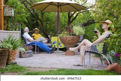 People relaxing in a garden