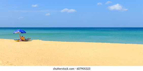People relaxing on the tropical beach and blue sky in Karon beach Phuket, Thailand ,Panorama view