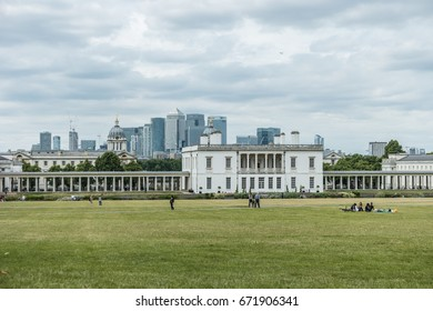 People rest relaxing in the park on a beautiful summer day in London June 2017,View from Greenwich, London, England, UK