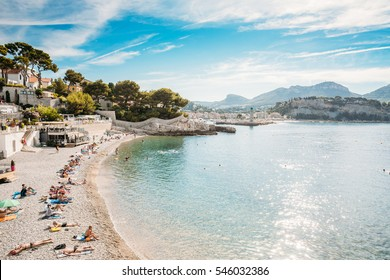 People resting at beach in Cassis, France. Cassis is popular places in France for vacation