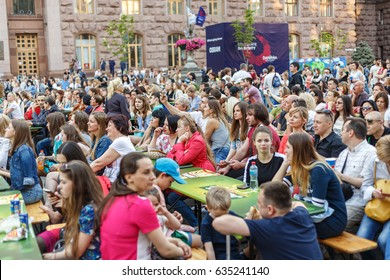 People are resting in the fan zone of Eurovision 2017 on Khreshchatyk Street in Kiev. Eurovision Village. Eurovision opening in Ukraine. May 7, 2017