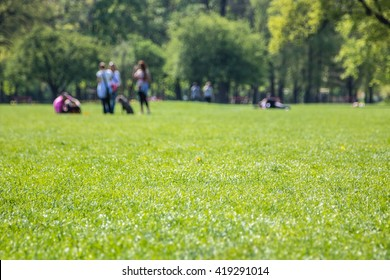 People resting on fresh green park lawn - focus on foreground grass