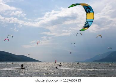 People are Riding Kitesurfing in Akyaka-Mugla, Turkey. 05-08-2017