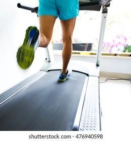 People running on a treadmill