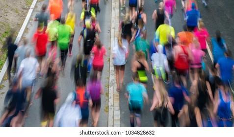 People running the Stockholm marathon, Stockholm, Sweden