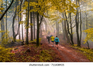 People running through a autumn forest