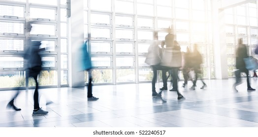 people in rush at a modern hall