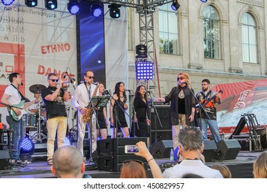 People at the scene. St. Petersburg, Russia - 2 July, 2016. Annual international festival of jazz and blues in St. Petersburg.