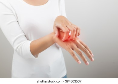 People scratch the itch with hand, Arm, itching, Concept with Healthcare And Medicine.