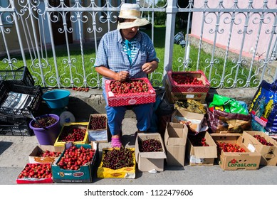People sell their crops on the faces of the city of Vilkovo, Odessa region, Ukraine, June 2018