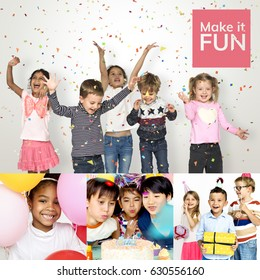 People Set of Diversity Kids Enjoy Party Studio Collage