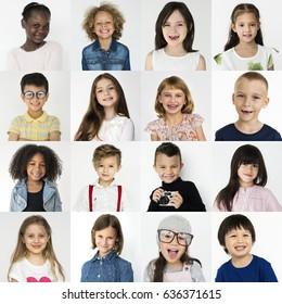 People Set of Diversity Kids Playful Studio Collage