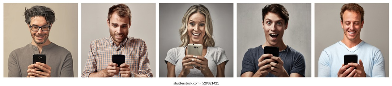 people set with smartphone