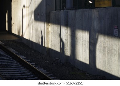People Shadows On The Concrete Wall At Marmaray Train Station of The Istanbul
