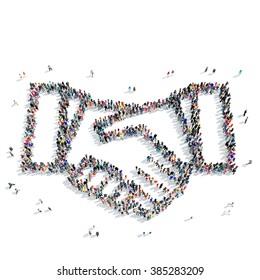 people shape  handshake partnership