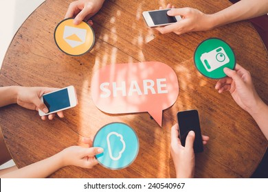 People sharing files via smartphones: internet and technology concept