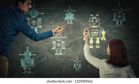 People sharing thoughts together draw different robots on blackboard. Employee choosing, artificial intellect replace human, leadership concept. Modern technology workforce candidates recruitment.