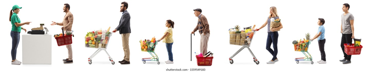 People with shopping carts and baskets waiting in line at the cash register isolated on white background