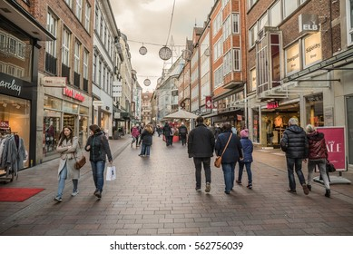 People shopping for Christmas in the Obernstrasse in Bremen, Germany on December 27th, 2016