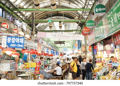 People are shopping at Gwangjang Market that is one of the oldest traditional markets in Seoul, Korea on 21 September 2017