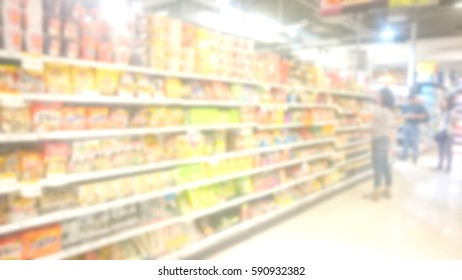 People shopping in supermaket Background blur with bokeh, supermarkets, shelves, miscellaneous. business concept