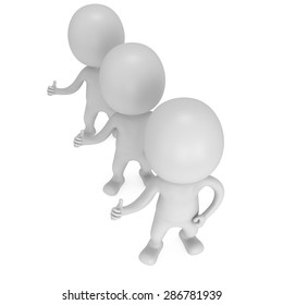 People showing thumbs up over white background. 3D render.
