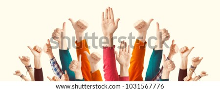 People showing thumbs raised
