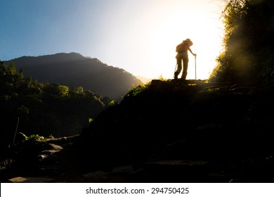 People in silhouette hiking towards sunrise