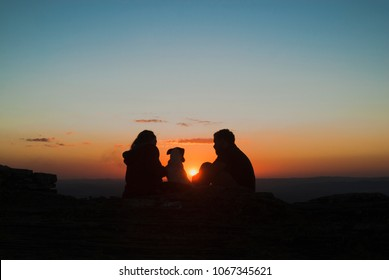 People silhouette at sunset in Brazil
