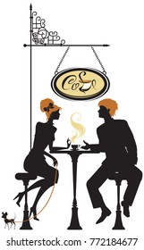 People silhouettes, love image, Illustration of couple young woman and man drinking coffee and chatting on street cafe. Elements for restaurant, bar menu design.
