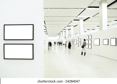 People silhouettes in the museum interior