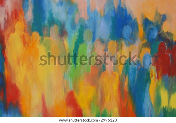 people silhouettes painting in rainbow colors to use as background