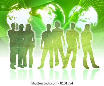 people silhouettes and world map
