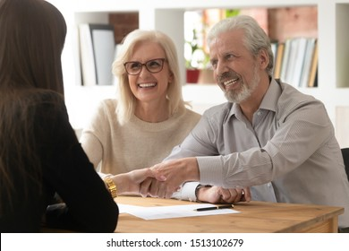 People sit at desk in office focus on aged couple handshaking with female realtor real estate agent succeed agreement, after sign contract client express gratitude shake hands, successful deal concept