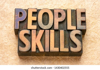 people skills word abstract in vintage letterpress wood type